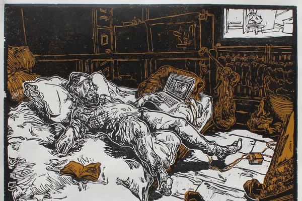 Woodcut print depicting a man laying on a bed looking at a laptop
