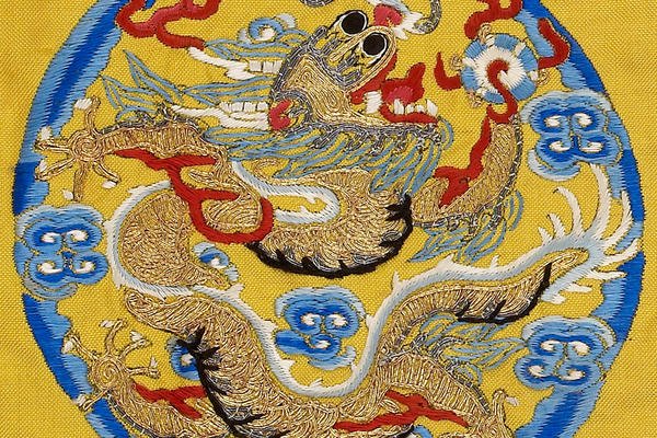 Blue and Yellow Chinese Robe Decorated with Dragons