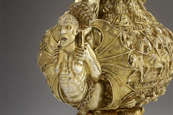 Ewer with monstrous figures, acrobats, a sphinx like figure and the royal arms of Portugal, 1520-30