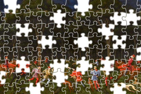 Jigsaw puzzle version of The Hunt In the Forest painting by Uccello