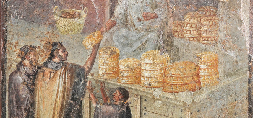 A fresco showing men buying bread.
