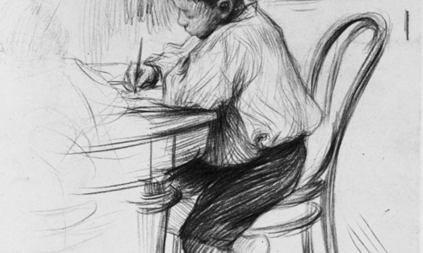 A black canyon drawing of a young boy writing at a table.