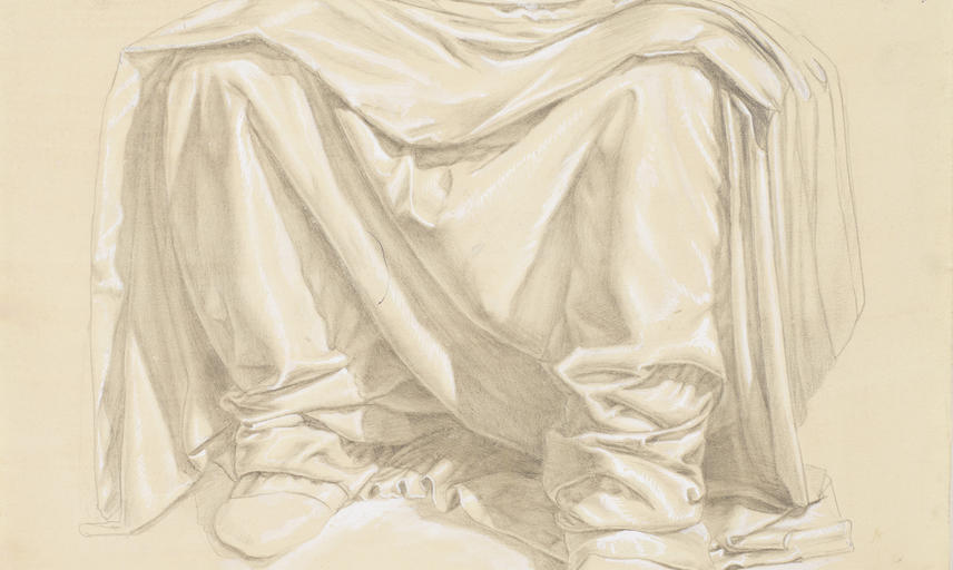 Legs covered in robes drawn by silverpoint