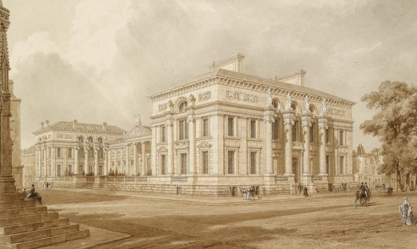 Watercolour by Frederick Mackenzie, 1848, of the south east view of the University Galleries and Taylor Building