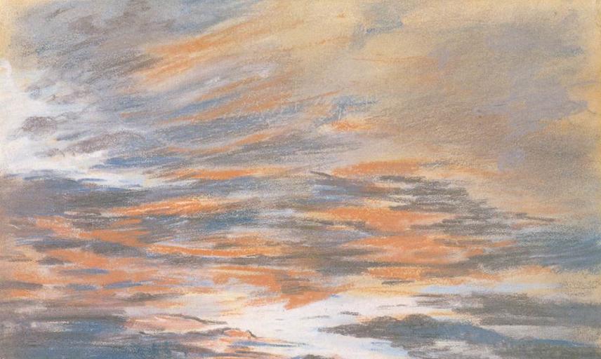 eugene delacroix  study of the sky at sunset  wga06251