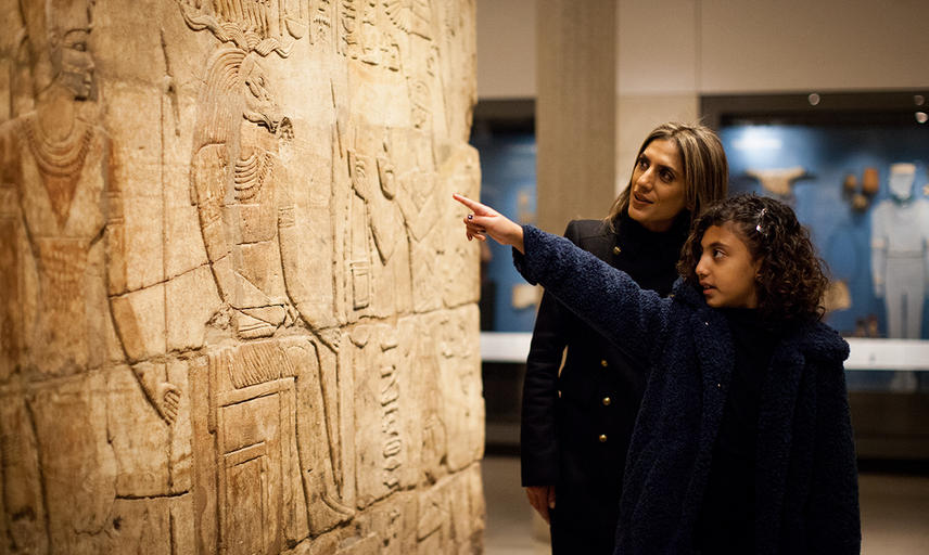 Mother and Daughter looking at Hieroglyphics in the Egypt Gallery