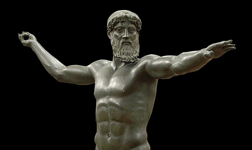 Bronze statue of Zeus about to throw a lightning bolt