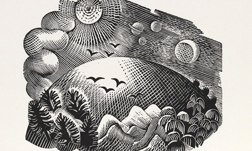 Eric Ravilious Landscape with Hills Birds and Planets Engraving