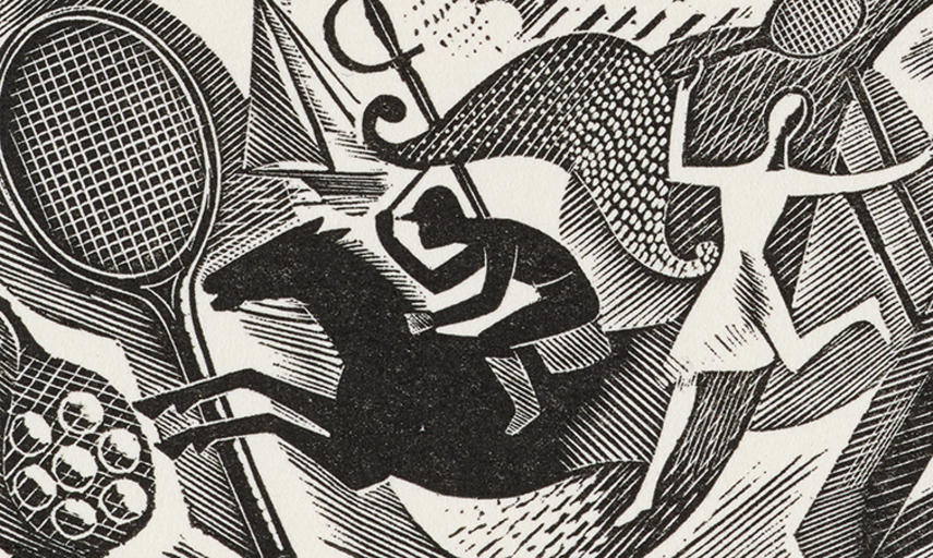 Eric Ravilious Sports Vignette with Horse Bat Dancer Racket and Boat