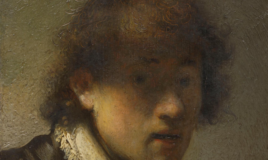 A painting of a young man with messy hair and an open-eyed expression.