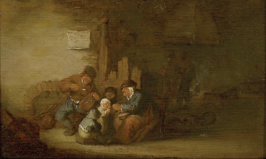 Adriaen van Ostade, A Peasant Family eating in an Interior, 1637