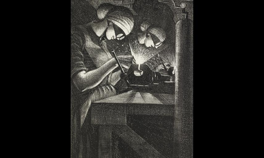 Christopher Nevinson, Acetylene Welders, 1917 © Ashmolean Museum, Presented by the Ministry of Information, WA1919.31.39