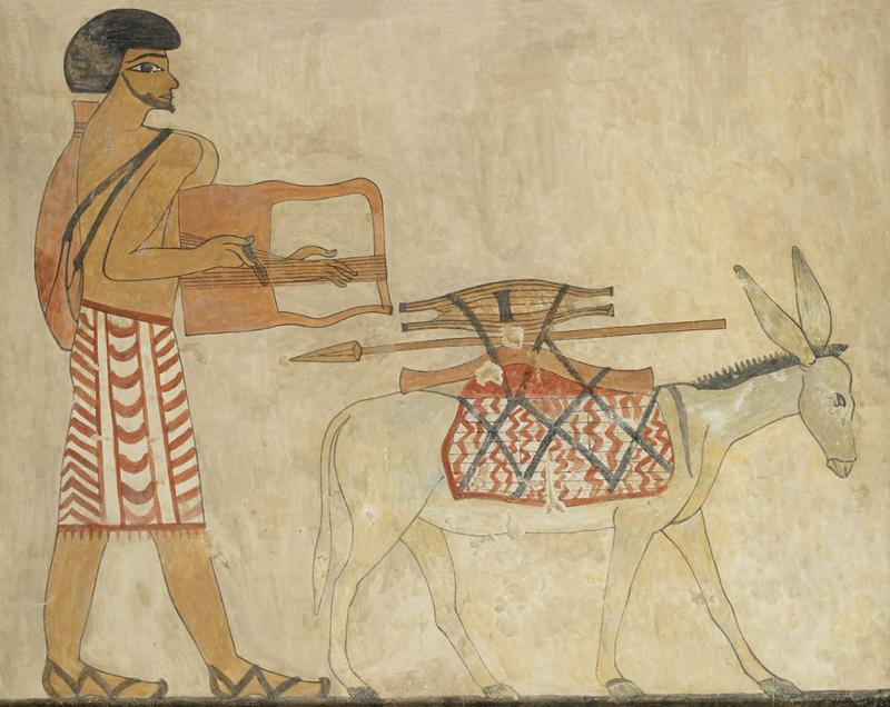 AN1939.591 Copy of a wall painting, Semite playing lyre with donkey