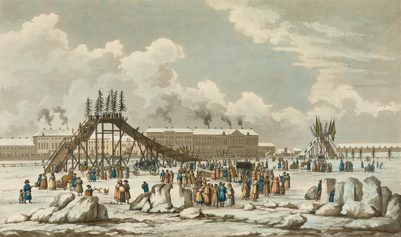 Print of slides in Russia made from Ice