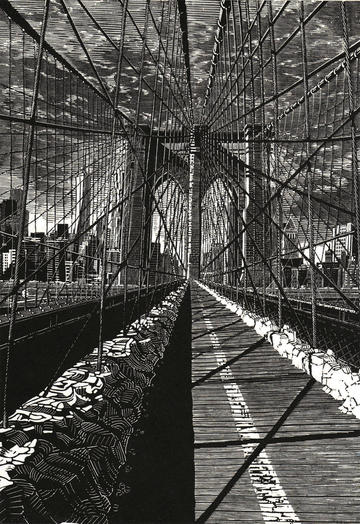 Portrait print of Brooklyn Bridge
