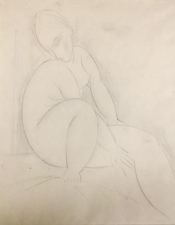 Pencil on paper drawing of a seated nude figure