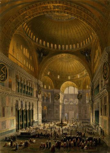 Interior view of the Hagia Sophia mosque in Istanbul from the balcony, with two domes above, crowd of worshippers on the carpet below, and entrance in background; after Fossati. Tinted lithograph with hand-colouring. 1852