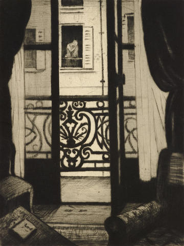 A black and white etching of an open glass door onto a balcony