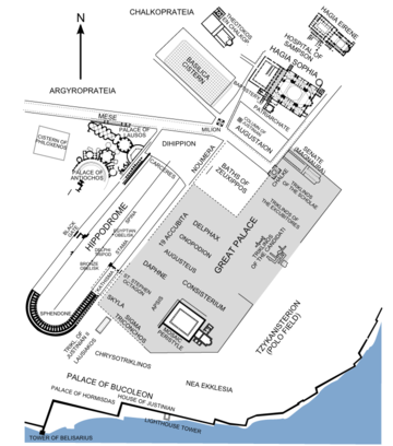 Plan of Constantinople's imperial district at the time of the Emperor Justinian I