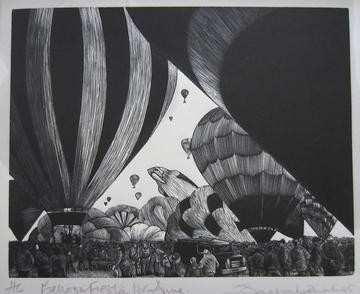 Landscape print of hot air balloons