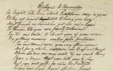 Excerpt from the Epilogue to 'Personation'; Brady Archive, Christ Church College Library