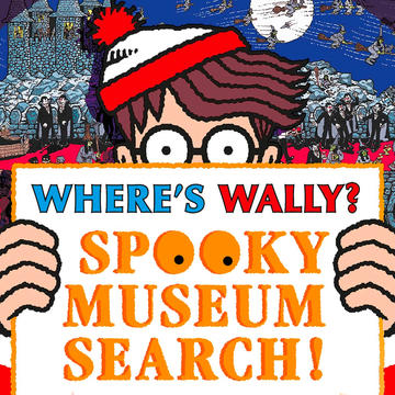Illustrated image of the Where's Wally? character holding a banner