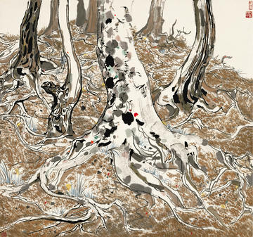 Painting of tree roots by Wu Guanzhong
