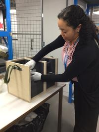 Registrar Aisha Burtenshaw packages objects at the Museum