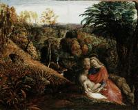 Landscape with the Repose of the Holy Family by Samuel Palmer at the ashmolean
