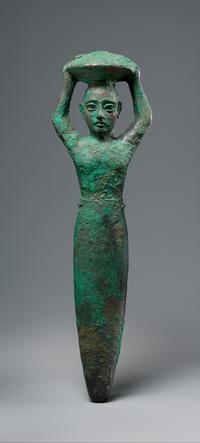 Copper foundation figure of king Shulgi of Ur, carrying a basket ca. 2094–2047 BCE; Metropolitan Museum of Art