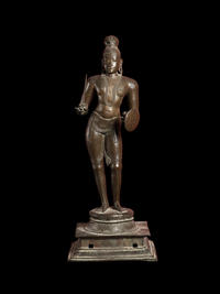 Cast bronze sculpture of a standing figure of a Buddha.
