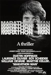 Poster for Marathon Man, starring Dustin Hoffman and Laurence Olivier