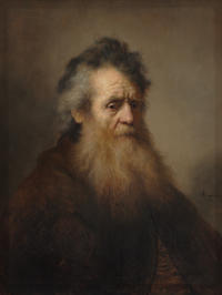 A painting of an old man with a long beard against a plain background.