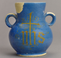 Tin-glazed vase with IHS trigram, found during Broad Street excavations, 1930s