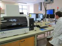 Objects being analysed using bench-top XRF equipment